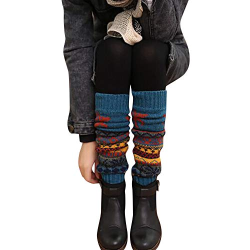 UJUNAOR Weihnachten Frauen Stricken Socken Dicke Kitz Schneeflockensocken Kniebundstrumpf Teppichsocken(Blau,One Size) -