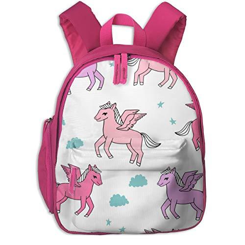 Kinderrucksack für Mädchen, Pegasus Stoff Cute Pegasus Whimsical Fantasy Stoff Für Mädchen Cute Baby Nursery Design - Pink and Purple_5596 - Andrea_Lauren, Für Kinderschulen Oxford Stoff (pink)