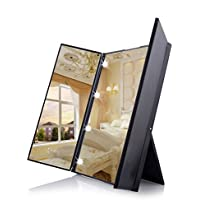 Unique Tri-Fold Cosmetic Makeup Mirror Travel Compact Pocket Make Up Mirror with 8 LED Lights Battery Included - Black
