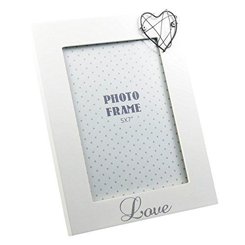 Cornice portafoto design love con cuore bianco opaco laccato ca. 18x 23cm per foto 13x 18cm