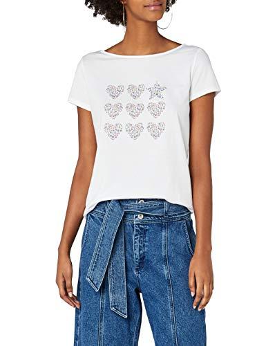 edc by ESPRIT Damen 048CC1K116 T-Shirt, Weiß (White 2 101), Small