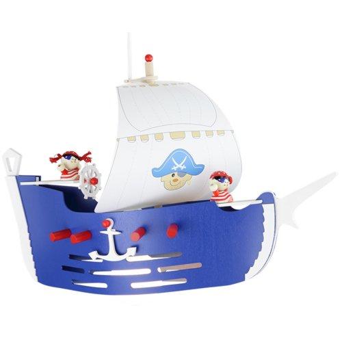 Elobra Kinder Lampe Pendellampe Piratenschiff Deckenleuchte Kinderzimmer Holz, dunkelblau 125779