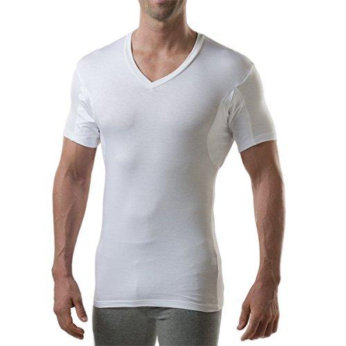 Thompson Tee - Anti-Schweiß Kurzarm-Unterhemd mit Achselschweiß-Polstern - Enge Passform - V-Ausschnitt - Weiß - XX-Large (Unterhemd Beständig)
