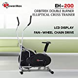 Powermax Fitness EH-200 Orbitrek Exercise Cycle and Elliptical Cross Trainer with Hand Pulse, Comfortable Seat and Smart LCD Display