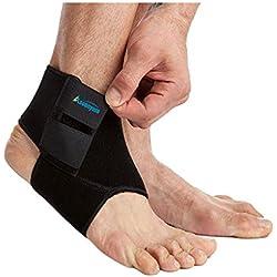 Tobillera elástica para correr baloncesto–neopreno transpirable ajustable tobillo Calcetines para mujeres y hombres negro por asoonyum