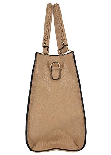 7270fe8d444fb ... CRAZYCHIC - Damen Tote Handtasche mit Gold Nieten - Elegant Henkeltasche  Shopper Schultertasche für Frau Student ...