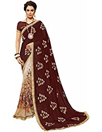 Gaurangi Creation Chiffon Saree With Blouse Piece (SS1004_Brown_Free Size)