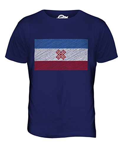 CandyMix Mari El Kritzelte Flagge Herren T Shirt Navy Blau