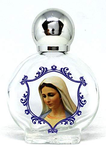 GTBITALY maría Virgen de medugorje Botella botellita de Vidrio con tapón de Plata para Agua Santa con impresión UV Ultra violetti