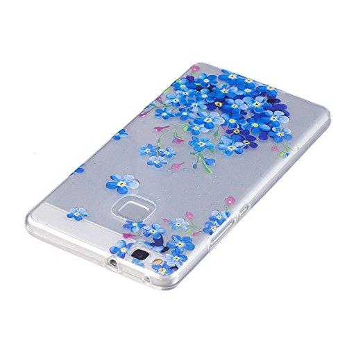 Cover Huawei P9 Lite, Custodia Huawei P9 Lite Cover Trasparente , Cozy Hut Ultra Slim Protective Cover Silicone per Huawei P9 Lite Smartphone, Telefono Cover Sottile Morbido Trasparente Silicone Gel T Fiore di stella