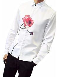 Vovotrade Hombres Hermoso Manga larga Solapa Casual Suelto Impresión de Rose Flor Romántico Camisa Camiseta Blusa