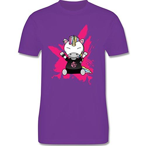 Comic Shirts - Punk Einhorn - Herren Premium T-Shirt Lila