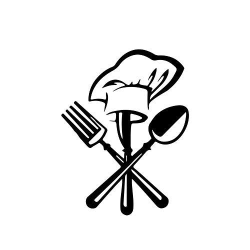 Lumanuby. 1x Küche Deko Aufkleber für Zuhause oder Restaurent von Stehender Löffel und Gabel trägt Chefhut PVC Wand Decal Wasserdicht und Entfernbar für Wall,Glas, Wandtattoo Serie, Schwarz,42x36cm