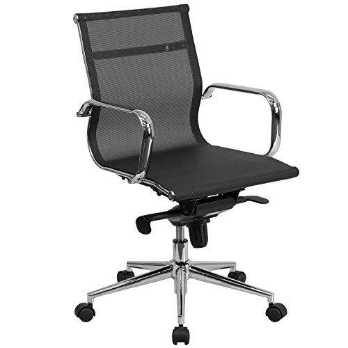 Flash Möbel mid-back transparent Mesh Executive Drehstuhl mit synchro-tilt Mechanismus und Arme, Metall, schwarz, 87x 60,96x 37.47cm (Arm-drehstuhl)