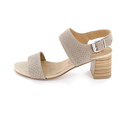 Tamaris Damen Sandalette aus Veloursleder in Beige Taupe