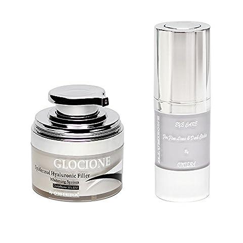 Omiera Glocione visage anti-ride creme et Illumizone anti-âge serum pour les yeux contre les cernes, les poches et les rides. Pour les hommes et les femmes et convient à tout type de peau 15 ml