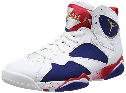Nike Herren Air Jordan 7 Retro Basketballschuhe, Blanco (White/MTLC Gold Coin-deep royal Blue), 47.5 EU