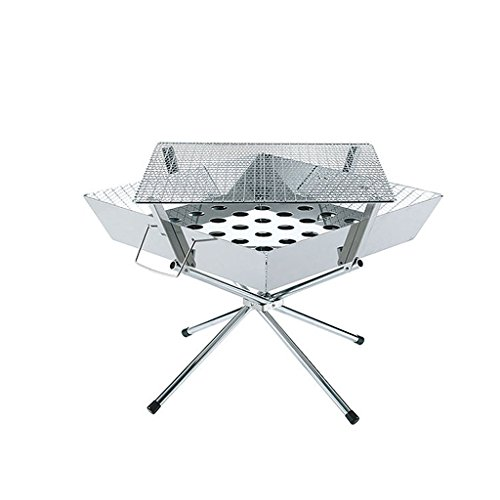Holzkohlengrill, BBQ Buffet Grillregal, Outdoor Camping Grillkiste, Portable Assembly Square Faltbare Edelstahl Picknick-Herd