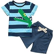 PAOLIAN Conjuntos de ropa para recién nacidos bebé niños Verano Camisetas Embroidered de Dinosaurs + Pantalones cortos de 6 Meses 12 Meses 24 Meses 3 años 4 años 5 años