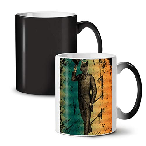Wellcoda Wolf Retro Einzigartig Jahrgang Farbwechselbecher, Nobel Tasse - Großer, Easy-Grip-Griff, Wärmeaktiviert, Ideal für Kaffee- und Teetrinker (Kostüme Geschirr Wolf)