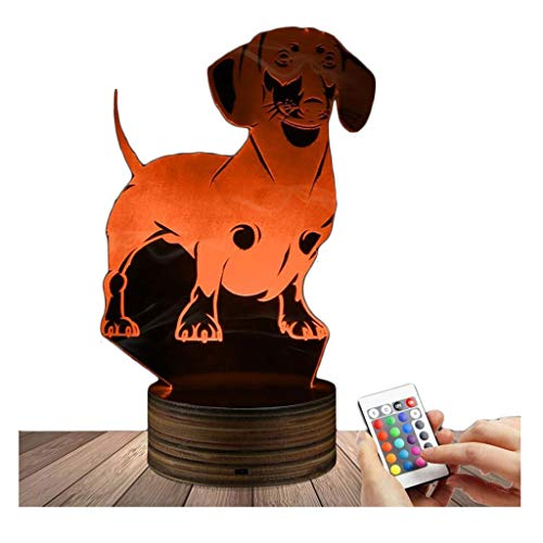 3D LED Lampe Dackel optische Täuschung Nachtlicht, USB-powered Fernbedienung ändert die Farbe des Lichts, Schlafzimmer Home Decor Hochzeit Geburtstag Weihnachten und Valentines Geschenk (Decor Home Valentine)