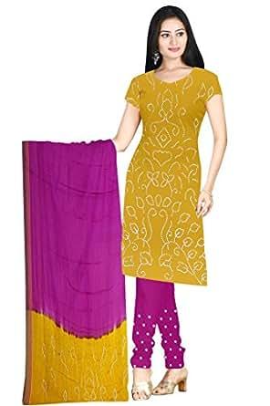 Kala Sanskruti Women's Cotton Satin Bandhani Gold Dress Material