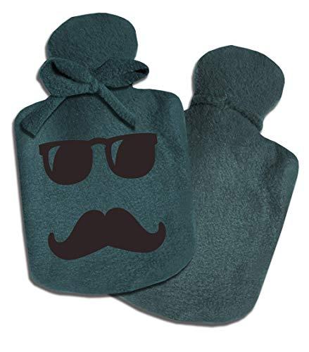 Personalisierter Wärmflaschen-Bezug für Jungen Männer Mann mit Namen und Motiv Brille Bart Hipster von SupaRina, unterschiedliche Farben und Motive, kalt oder warm befüllbar, Fleece, auch mit Flasche