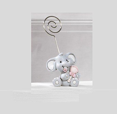 Bomboniera battesimo clip portafoto elefante rosa, 24 pezzi,4,5 cm in resina by paben