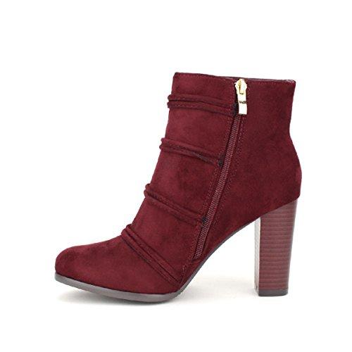 Cendriyon Bottine Bordeaux Pompons BELLOSTAR Chaussures Femme Bordeaux