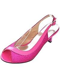 e86ca0d7b7cedf TAOFFEN Damen Mode-Event Kitten Heel Party Glitter Sandalen Mid Heel  Peep-Toe Slingback