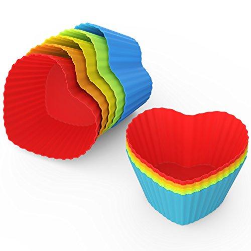 anbina® Muffinförmchen 25er Set an wiederverwendbaren Silikon Herz Muffinformen im 25er Muffin Pack in 5 Farben