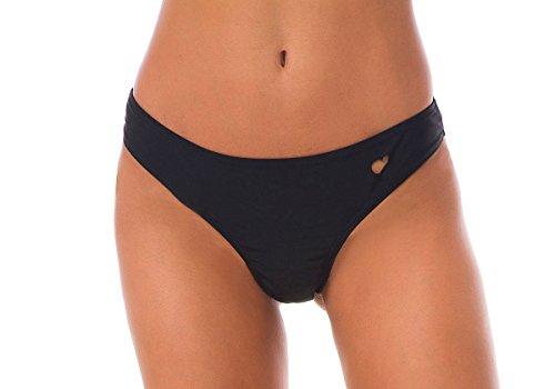 Tuopuda Damen Tanga Bikinihose Brazilian Bikini Slip Schwarz Sexy Bikini Unterteil String (EU 40, schwarz) -
