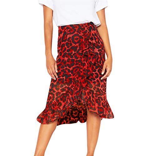 Amlaiworld Falda Larga Mujer Volantes,Falda Larga con Estampado de Leopardo Vintage de Mujer Falda Plisada de Cintura Alta Ocasional de Las Mujeres Falda Flamenca Mujer Vestido Mujer