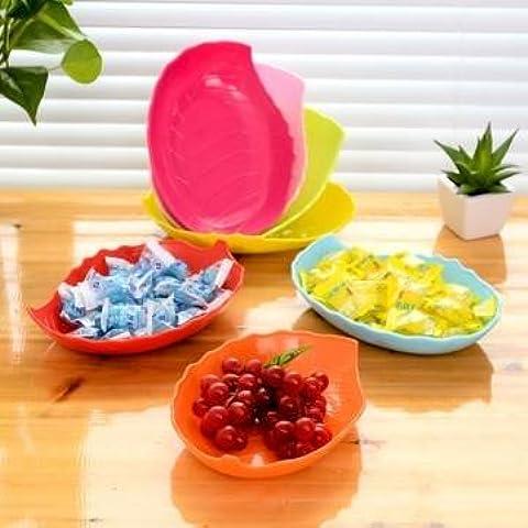 Creative forma de hojas candy plato plato de fruta bandeja de plástico frutos secos bandeja de aperitivos