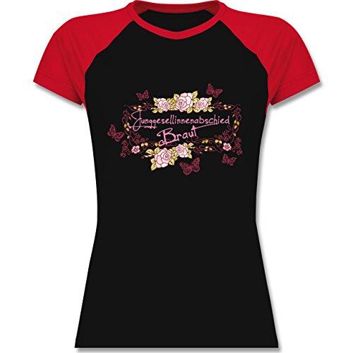 JGA Junggesellinnenabschied - Braut Schmetterlinge Blumen - zweifarbiges Baseballshirt / Raglan T-Shirt für Damen Schwarz/Rot