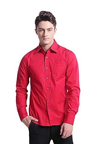 Pau1Hami1ton W00B Men's Button Down Solid Casual Cotton Stretch Long Sleeve Dress Shirts (L, Red)