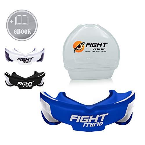 Fight Mind Profi Mundschutz - Sport Zahnschutz   + K.O Schutz + E-Book + max. O₂ + BPA freier Zahnschutz   Boxen, MMA, Krav MAGA