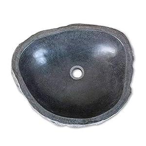 vidaXL Import armario lavabo de mesa en piedra natural, lavabo en piedra, armario de mesa, diámetro oval redondo…
