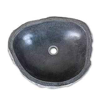 vidaXL Import armario lavabo de mesa en piedra natural, lavabo en piedra, armario de mesa, diámetro oval redondo aproximadamente 30–35, 40–45, 46–52cm