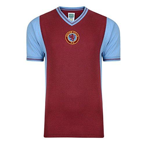 Aston Villa Official Herren1982 Retro Shirt (M) (Claret/Himmelblau) - Del De Villa Tiempo