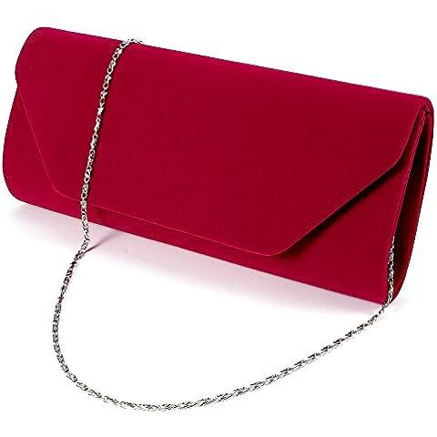 Anladia - Cartera de Mano para Fiesta Boda Salidas Bolso de Mujer Faux Suede Bolso Tipo clutch Color Azul Rojo Negro