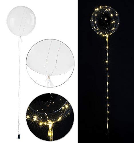 infactory Ballon mit Lichterkette: Luftballon mit Lichterkette, 40 warmweiße LEDs, Ø 40 cm, transparent (Lichter-Ketten)