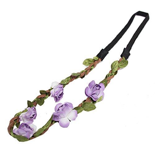 JUSTFOX - Trachten Rosen Haarband Geflochten in der Farbe Flieder