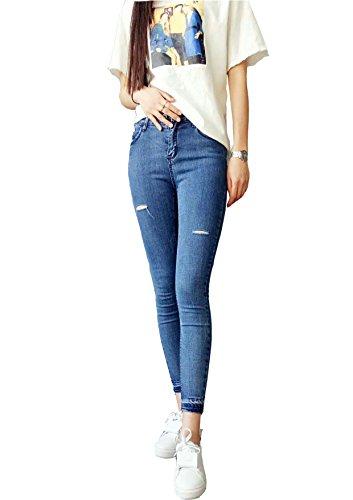 Damen gummizug in der Taille tiefblauen dunkle Längsstreifen Loch Nähte schlanke Slim-Fit Jeans Hosen Pincolu Blue