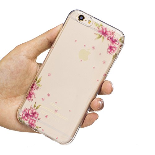EUWLY Silicone Custodia Per iPhone 6 Plus/iPhone 6s Plus (5.5) Cover TPU Custodia Trasparente Antiurto Sottile Anti Scivolo Guscio TPU Caso Custodia Morbida Flessibile Protettiva Custodia Cover Cellu Fiore Diagonale