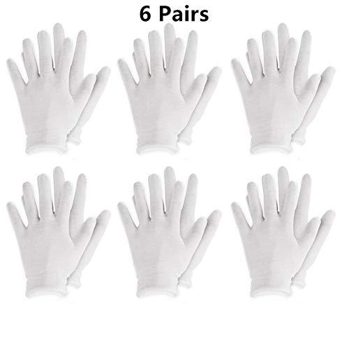 LLTT Wiederverwendbare Weiß Baumwoll-Handschuhe dünne elastische weiche Handschuhe for trockene Hand Moisturizing kosmetischen Ekzem Hand Spa Münze Schmuck Inspektion (Color : 6 Pairs)