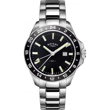 Gents Mens Stainless Steel Rotary GMT Quartz Battery Watch on Bracelet with Dual Time, Day & Date. GB05017/04