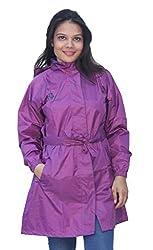 Romano Womens Purple Monsoon Long Length Protective Rain Overcoat