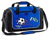 Mein Zwergenland Sporttasche in Royal mit Namen, 38 L, Fußball Torjäger 19