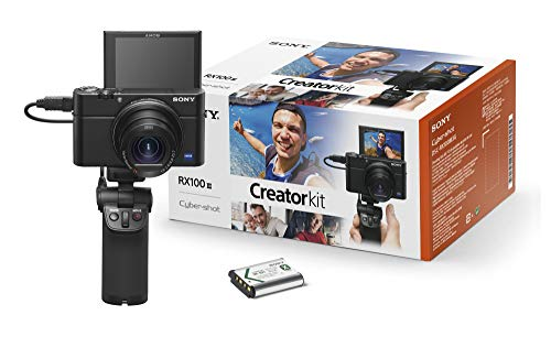 Sony RX100 III Creator Kit - Premium Kompakt Digitalkamera (20.1 MP, 7,6 cm (3 Zoll) Display, 1 Zoll Sensor, 24-70 mm F1.8-2.8 Zeiss Objektiv, WiFi, NFC) (DSC-RX100M3G) + VCT-SGR1 Handgriff, schwarz